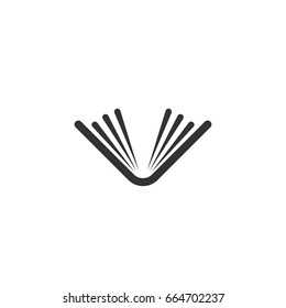 Black thick opened book with pages. Isolated on white. Flat reading icon. Vector illustration. Education logo. Library pictogram.