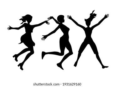 黒い細い手を上に  女性のジャンプのシルエット、髪型の違い    ベクター画像の人々の集まり 白い背景に