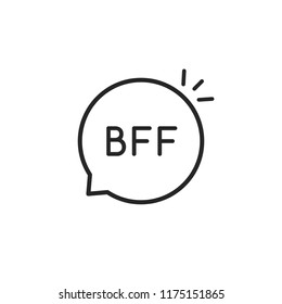 black thin line bff simple logo. flat linear style trendy modern logotype graphic design isolated on white background. concept of best friends forever text like strong friendship or positive feelings