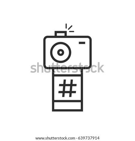 Black Thin Line Camera Photo Frame Stock Vector (Royalty Free ...