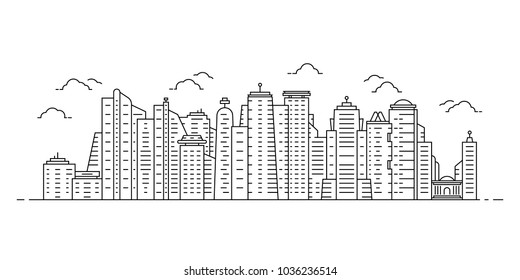 black thin line cityscape with skyscrapers. linear flat stroke simple style modern contour graphic minimal lineart design isolated on white background. concept of city scape like singapore or new york