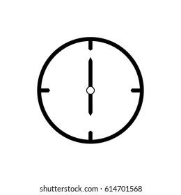 Black thin line clock icon (6 o'clock) - vector illustration