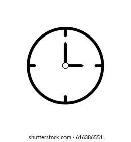 Black thin line clock icon (3 o'clock) - vector illustration