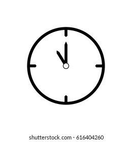 Black thin line clock icon (11 o'clock) - vector illustration