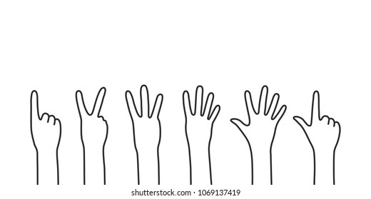 black thin line counting hands. concept of male or female people palms calculating for non-verbal communication. simple flat linear graphic contour art design isolated on white background