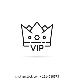 black thin line crown like vip icon. outline flat authority glamorous product logotype graphic simple design isolated on white. concept of special service offer only for wealthy people or high fashion