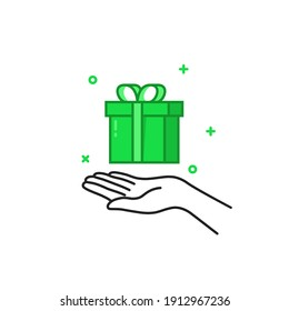 black thin line hand holding green gift box. flat cartoon outline modern logotype graphic simple greeting card design isolated on white. concept of happy new year joy or valentine day romantic present