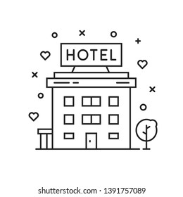 black thin line hotel simple icon. flat stroke style motel or hostel logo graphic minimal art design isolated on white background. concept of rest in a luxury or vip hotel