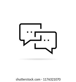 black thin line online chat bubble icon. flat linear trendy simple logotype graphic art design element isolated on white. concept of mobile app for arguing or instant message and business interview