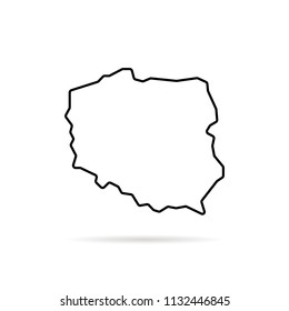 black thin line poland map with shadow. flat stroke style trend modern logotype graphic lineart minimal design on white background. concept of modern border of polish country