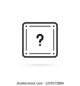 black thin line question box. flat stroke trend modern faq logotype graphic lineart design art isolated on white background. concept of mmorpg game item for micro payments and simple quest badge