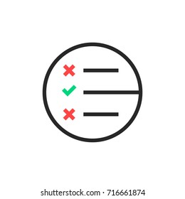 black thin line questionnaire round logo. concept of business brainstorming or to do list with tick. simple flat style trend creative stroke logotype graphic art design isolated on white background