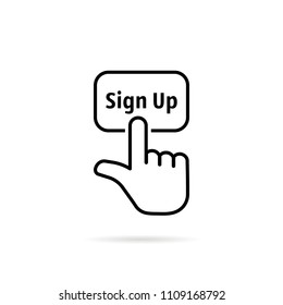 black thin line sign up with hand. concept of signup on homepage or personal page and subscribe membership. flat lineart style trend modern logotype graphic art design isolated on white background