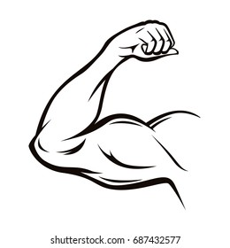 Black Thin Line Strong Male Arm Workout Pose Symbol of Power and Muscle. Vector illustration