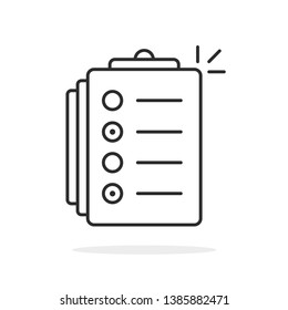 black thin line test or exam icon. flat lineart modern to do list logotype graphic stroke art design isolated on white background. concept of online examination or study process and checkbox symbol