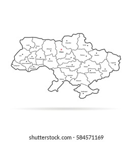 black thin line ukraine map regional centers. concept of land, education, trip, detail cartography, part of world with town symbol. flat style trend modern logo graphic art design on white background