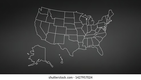 black thin line usa map contour. education infographic element. stroke flat style design. Vector illustration isolated on black background