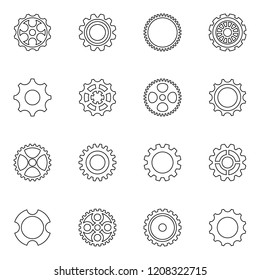 Black thin line vector cog wheels and gears
