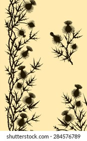 Black Thistle. Vertical seamless. Corner. Branch. Clip Art. Yellow Background.