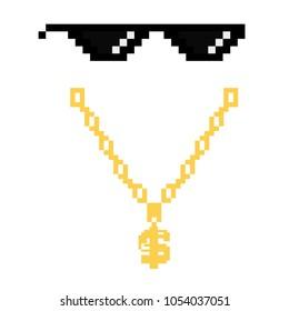 black thug life meme glasses in pixel art style