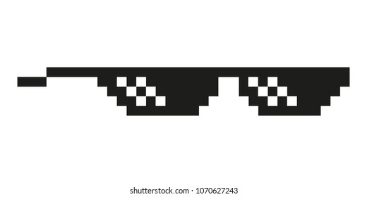 black thug life meme like glasses in pixel art style trend modern logotype graphic