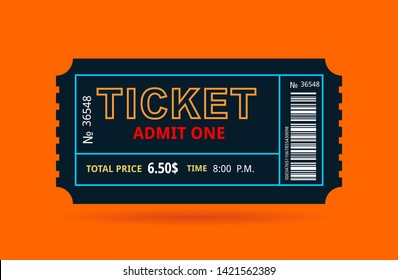 the black ticket on an orange background with an inscription and the price