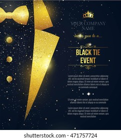 Gala invitation stock vectors images vector art shutterstock black tie event invitation elegant black card with golden sparkles vector illustration stopboris