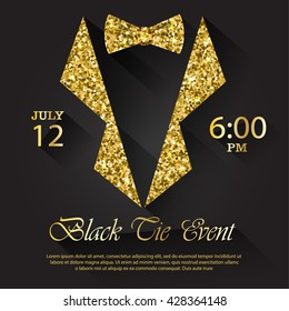 Black tie event invitation, vector illustration
