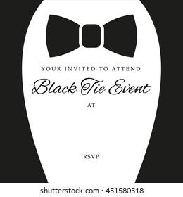 Black tie event invite, template, vector