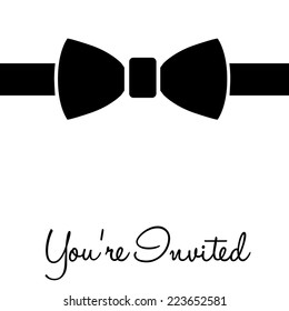 Black tie event your invited, on white, vector illustration