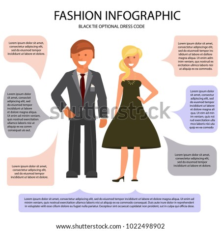 black tie optional dress code infographic stock vector (royalty free