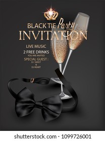 Black tie party with the black bow tie and glasses of champagne. Vector illustration