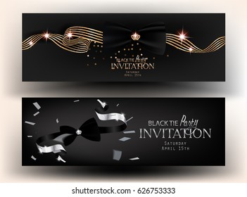 Black tie party invitation cards. Vector illustration