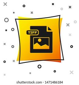 Black TIFF file document. Download tiff button icon isolated on white background. TIFF file symbol. Yellow square button. Vector Illustration