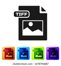 Black TIFF file document. Download tiff button icon isolated on white background. TIFF file symbol. Set icons in color square buttons. Vector Illustration