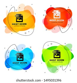 Black TIFF file document. Download tiff button icon isolated on white background. TIFF file symbol. Set abstract banner with liquid shapes. Vector Illustration