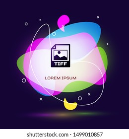 Black TIFF file document. Download tiff button icon isolated on dark blue background. TIFF file symbol. Abstract banner with liquid shapes. Vector Illustration