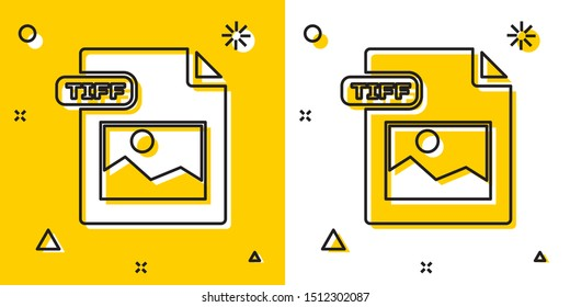 Black TIFF file document. Download tiff button icon isolated on yellow and white background. TIFF file symbol. Random dynamic shapes. Vector Illustration