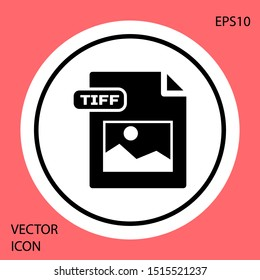 Black TIFF file document. Download tiff button icon isolated on red background. TIFF file symbol. White circle button. Vector Illustration