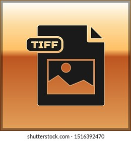 Black TIFF file document. Download tiff button icon isolated on gold background. TIFF file symbol.  Vector Illustration