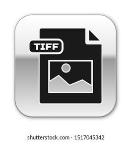Black TIFF file document. Download tiff button icon isolated on white background. TIFF file symbol. Silver square button. Vector Illustration