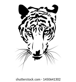 black tiger head isolated on white background