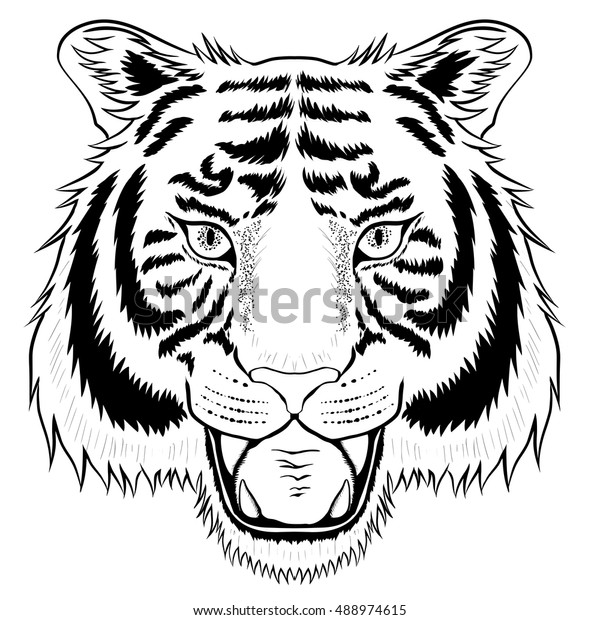 a16a9ab495e83 Black tiger head isolated on white background. It can be used as tattoo.
