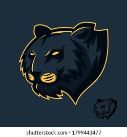 Black tiger mascot logo gaming esport - tiger head illustration