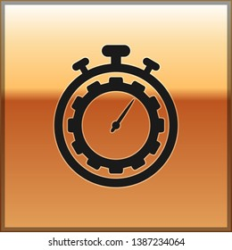 Black Time Management icon isolated on gold background. Clock and gear sign. Productivity symbol. Vector Illustration