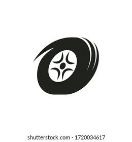 black tire spin vector illustration