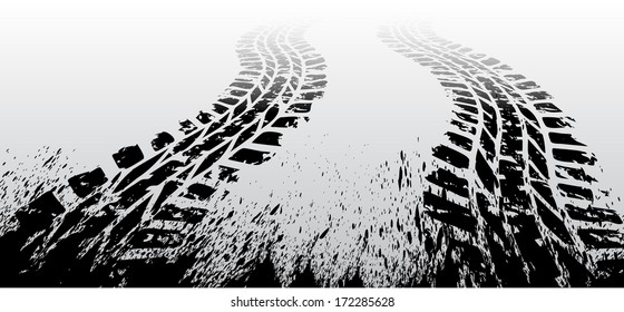 Black tire track on gray background. eps10