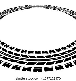 Black tire track silhouette in circle shape isolated on white background