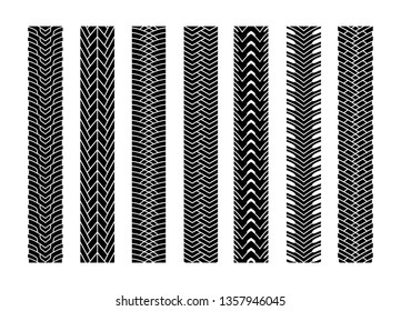 Black Tire Tracks Wheel Car or Transport Set on Road Texture Pattern for Automobile. Vector illustration of Track.