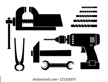 Black tool icons